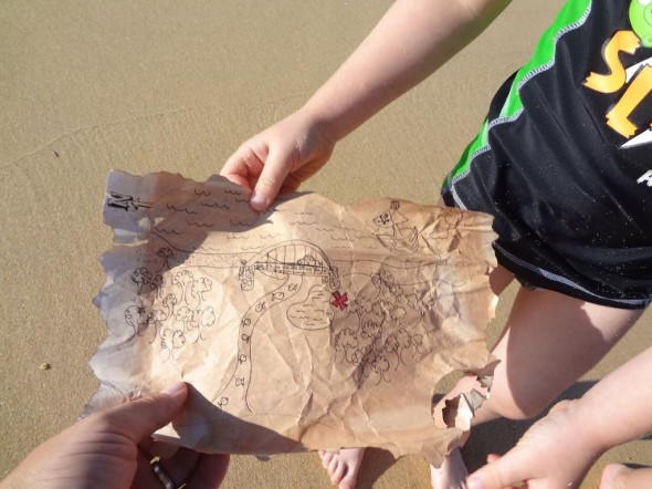 The boy with pirate treasure map